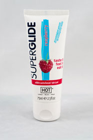 HOT Superglide edible lubricant waterbased - RASPBERRY - 75m
