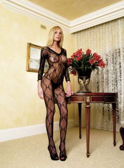 V-Neck Bodystocking: Black: S-L