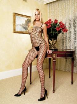 Industrial Net Bodystocking: Black: O/S