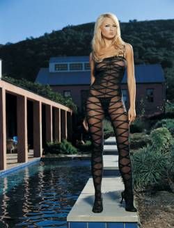 Opaque Bodystocking: Black: O/S