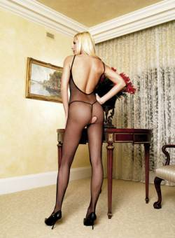 Fishnet V Back Bodystocking; Black; S-L