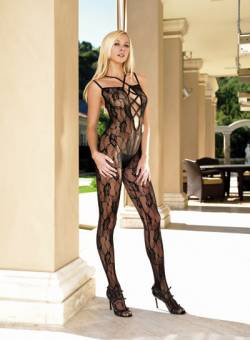 Criss Cross Strapped Bodystocking: Black