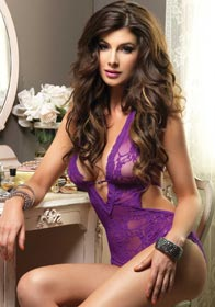 Stretch Lace Deep-V Halter Teddy With Faux Rhinestone Buckle