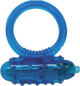 Silicone Soft Cock-Ring blue m. Vibr.