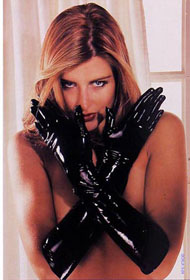 LATEX GAUNTLETS BLACK SMALL